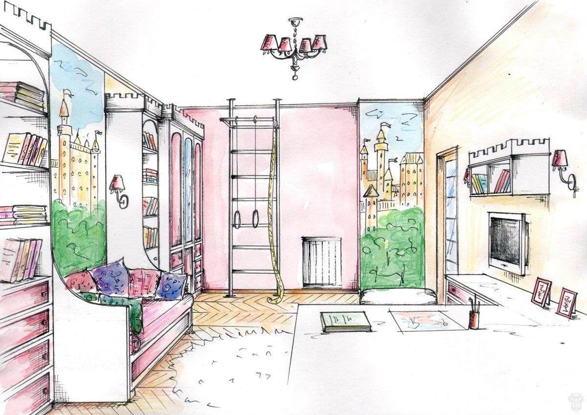 Нарисовать комнату картинки