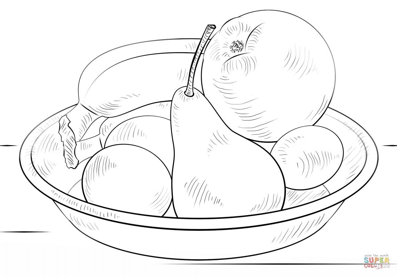 Раскраска фрукты в вазе для детей распечатать