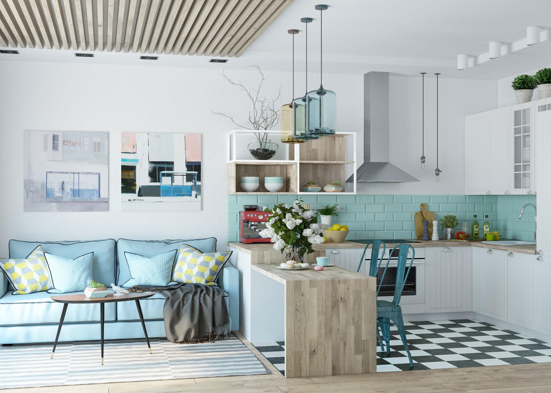 дизайн квартиры студии для девушки маленькая кухня в пастельных