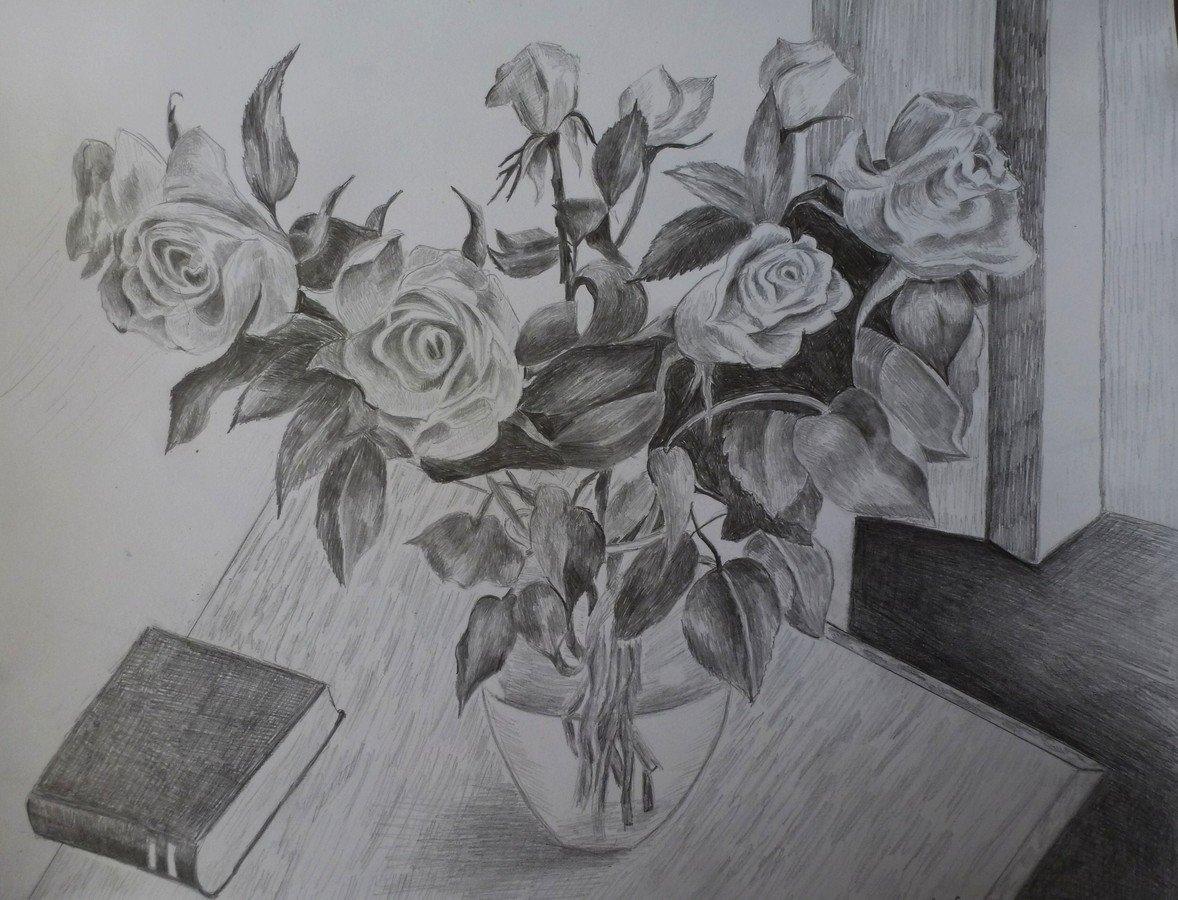 Картинки натюрморт карандашом цветы институте