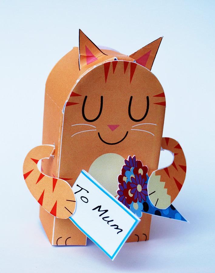 Кот открытка из бумаги