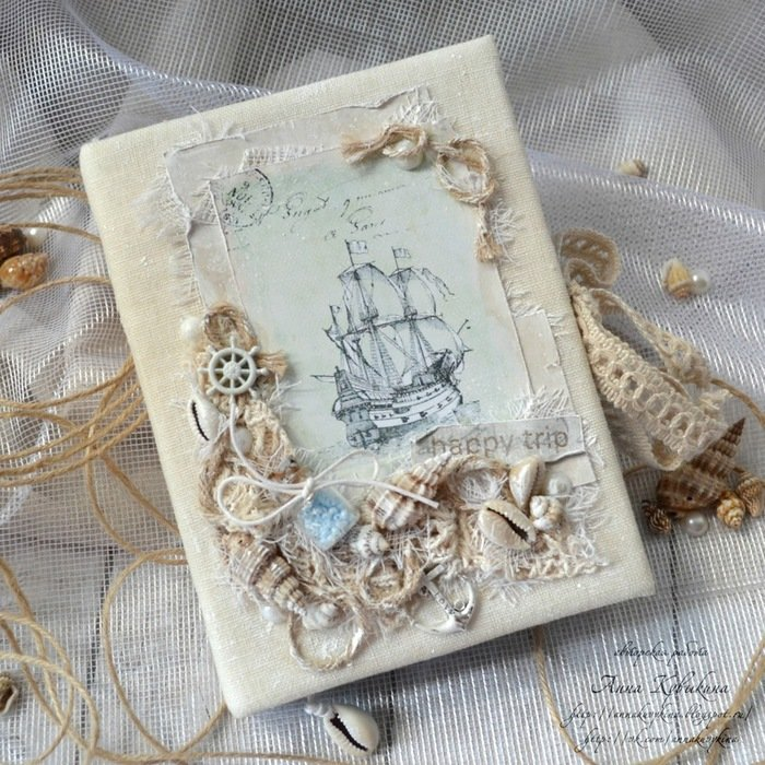 Днем рождения, морские открытки в стиле скрапбукинг