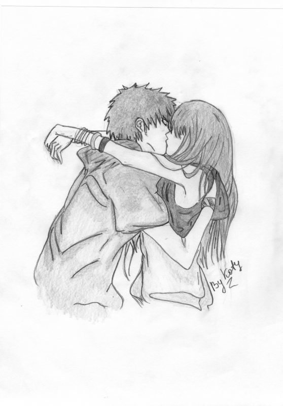 карандашом шею в рисунки поцелуй