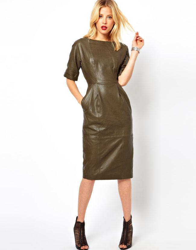 Модные фасоны платьев из кожи фото