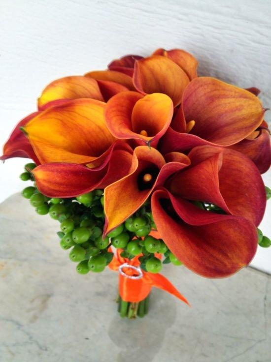 Цветы где, свадебный букет из рыжих калл своими руками