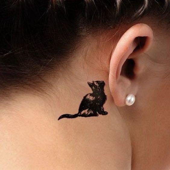 Тату кошки за ухом фото