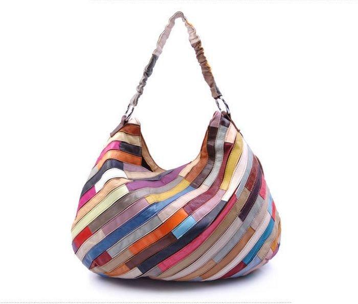 Полосатая сумка в стиле пэчворк.