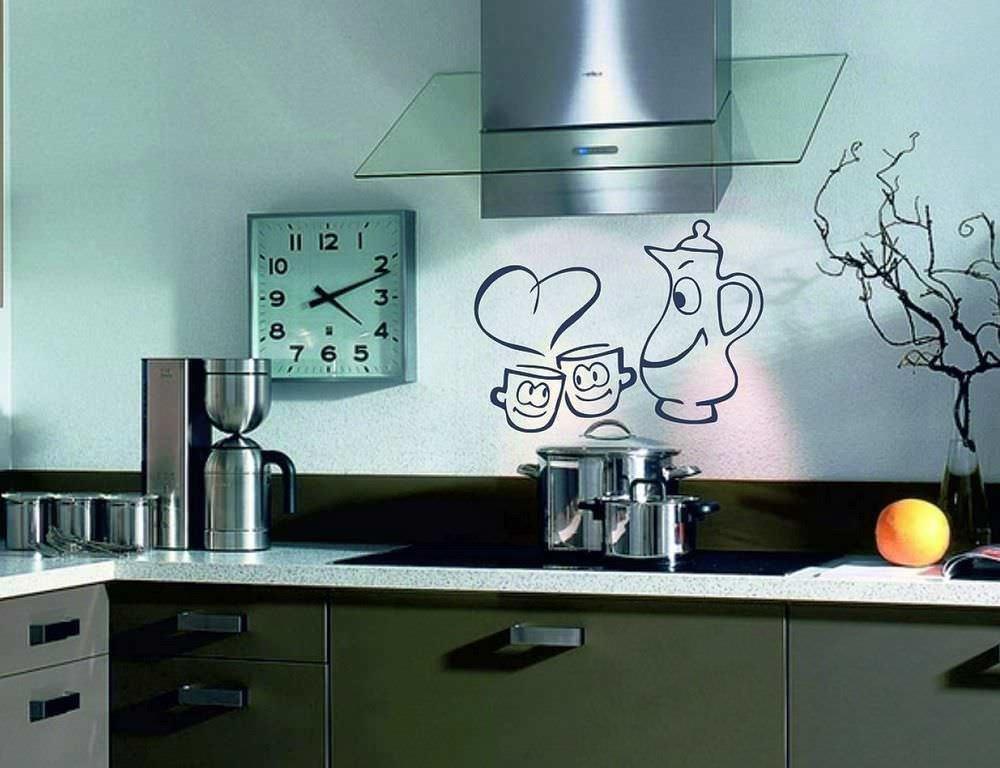 Открытки, рисунок на стене на кухне