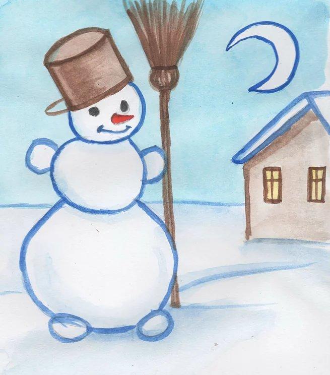 Легкие рисунки легкие зима