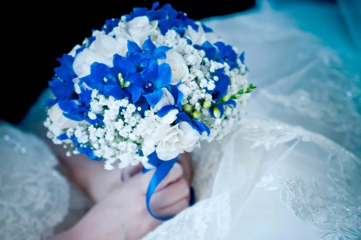 Кустовая роза, букет невесты синий или голубой