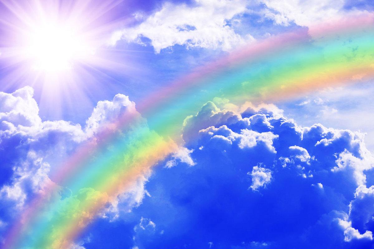 Картинка фон радуга и небо
