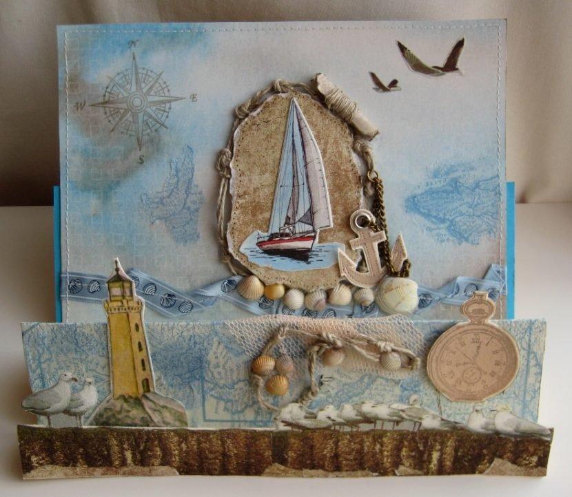 Морской стиль открыток на свадьбу