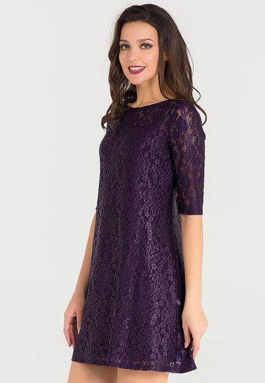 c57d2f98cac4d0b Фиолетовое кружевное платье А-силуэта с открытыми плечами и фигурным ...