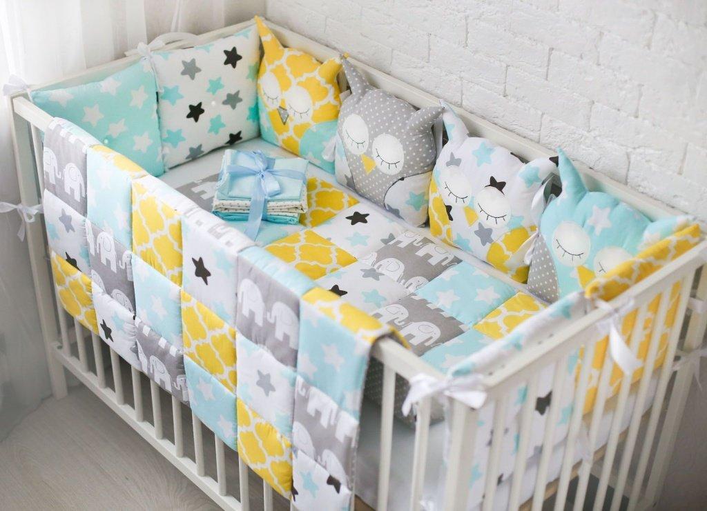 Бортики бамперы в кроватку для новорожденных купить