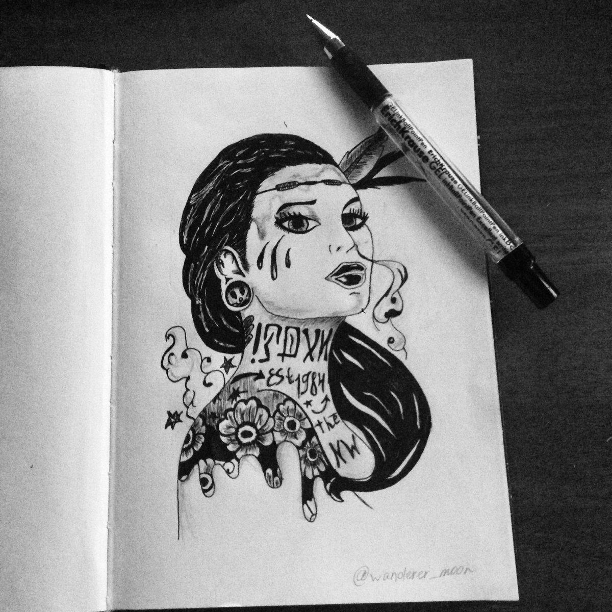 Прикольные рисунки черной гелевой ручкой на бумаге