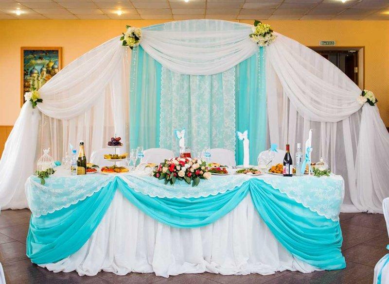 Бирюзовое оформление свадебного зала