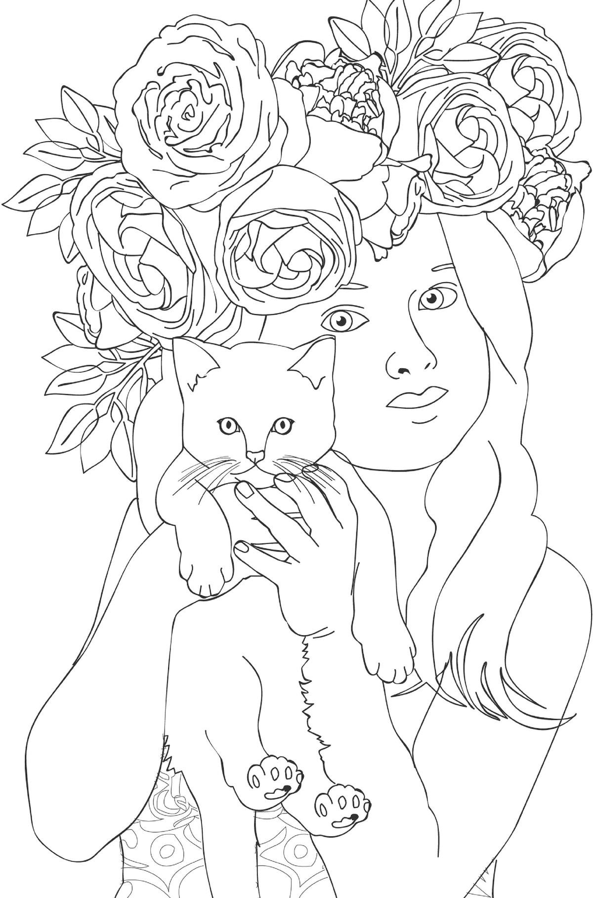 Тур открытки, девочка с котенком картинки для распечатки