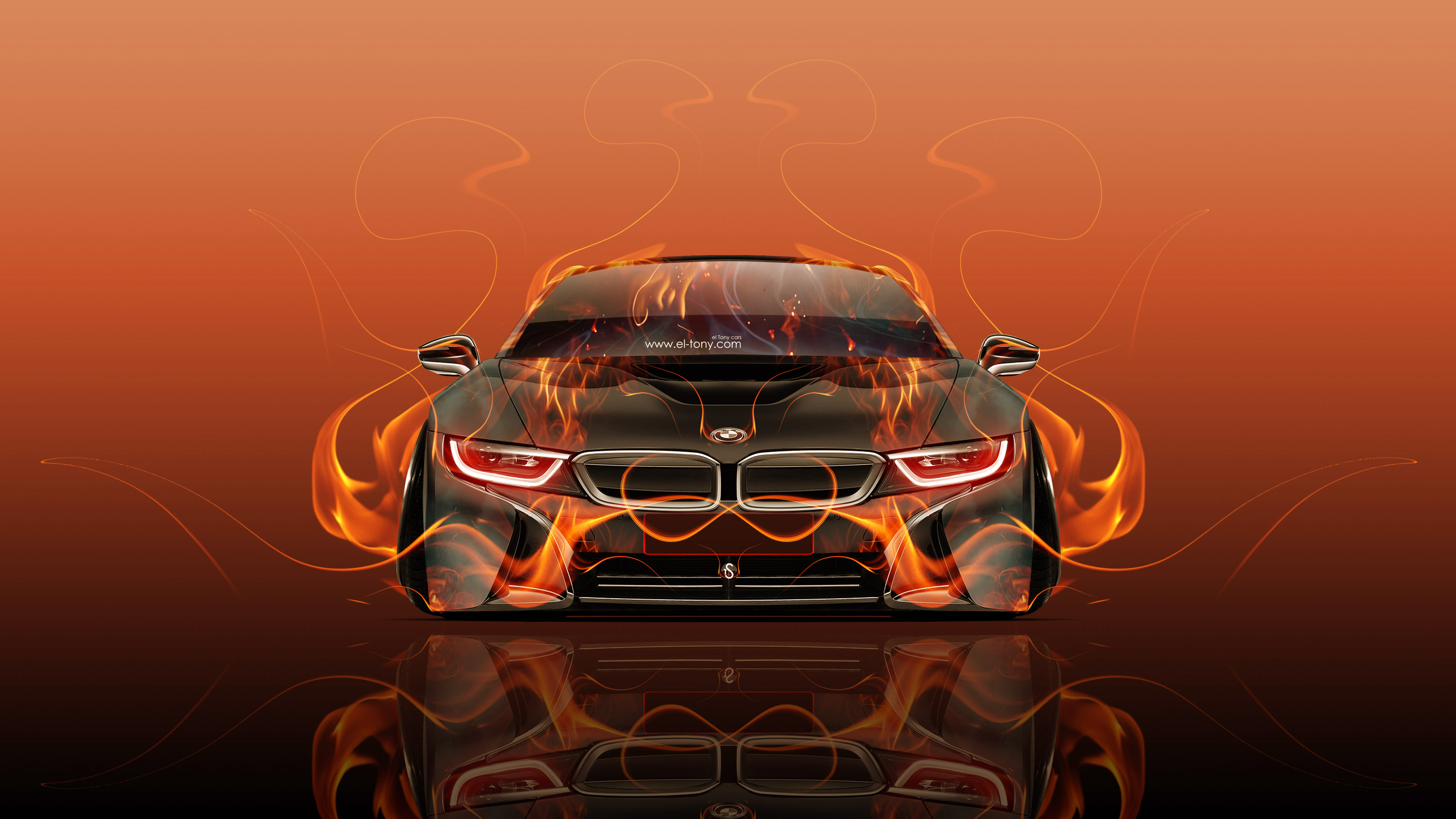 Bmw I8 Front Fire Abstract Car 2015 Red Orange Black Colors 4k