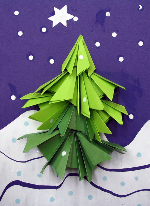 елка из цветной бумаги своими руками аппликация