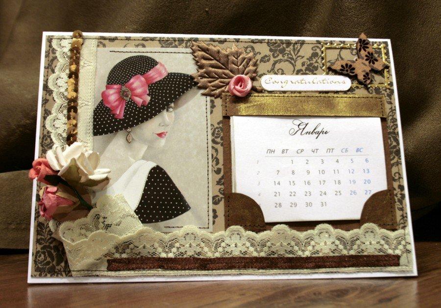 Открытка в виде календаря, новогодне открытки открытки