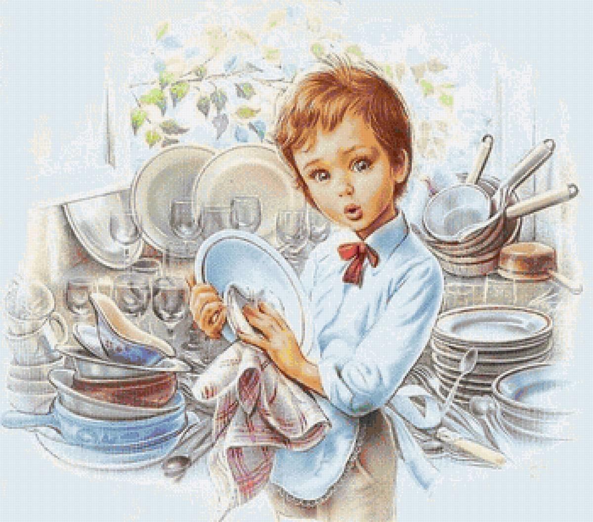 Картинки для детей посуду мою