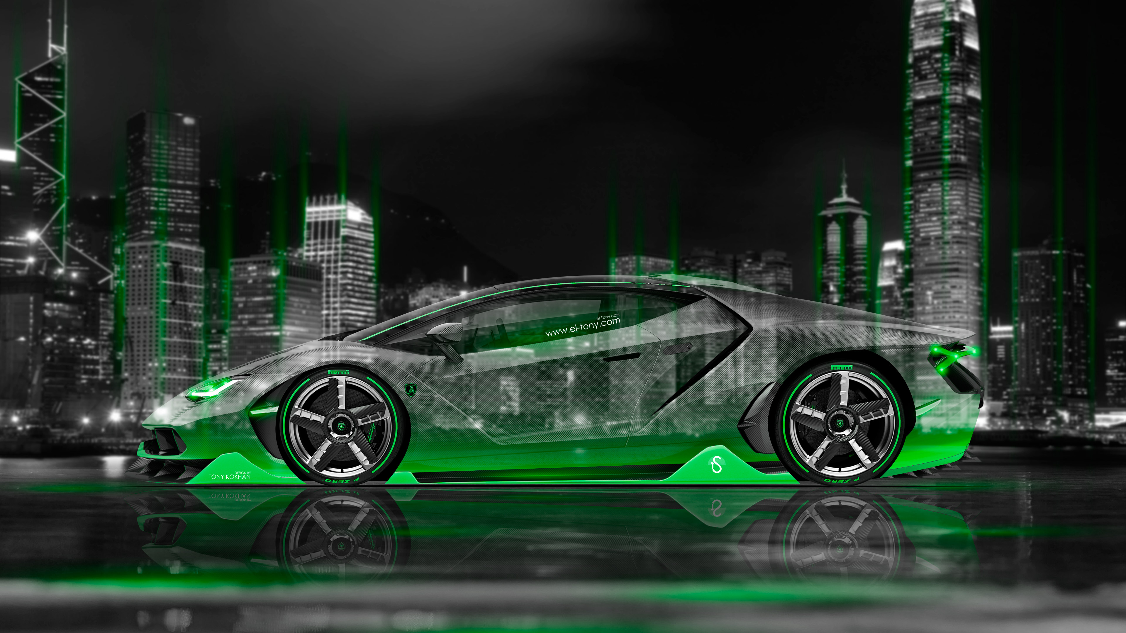 Lovely Lamborghini Centenario Side Crystal City Night Car 2016 Green Neon ...