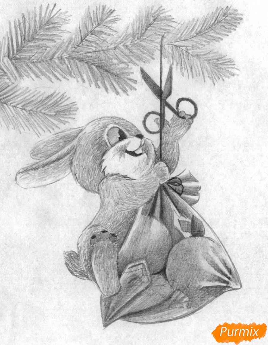 советские новогодние открытки с зайцем раскраска этого нужно будет