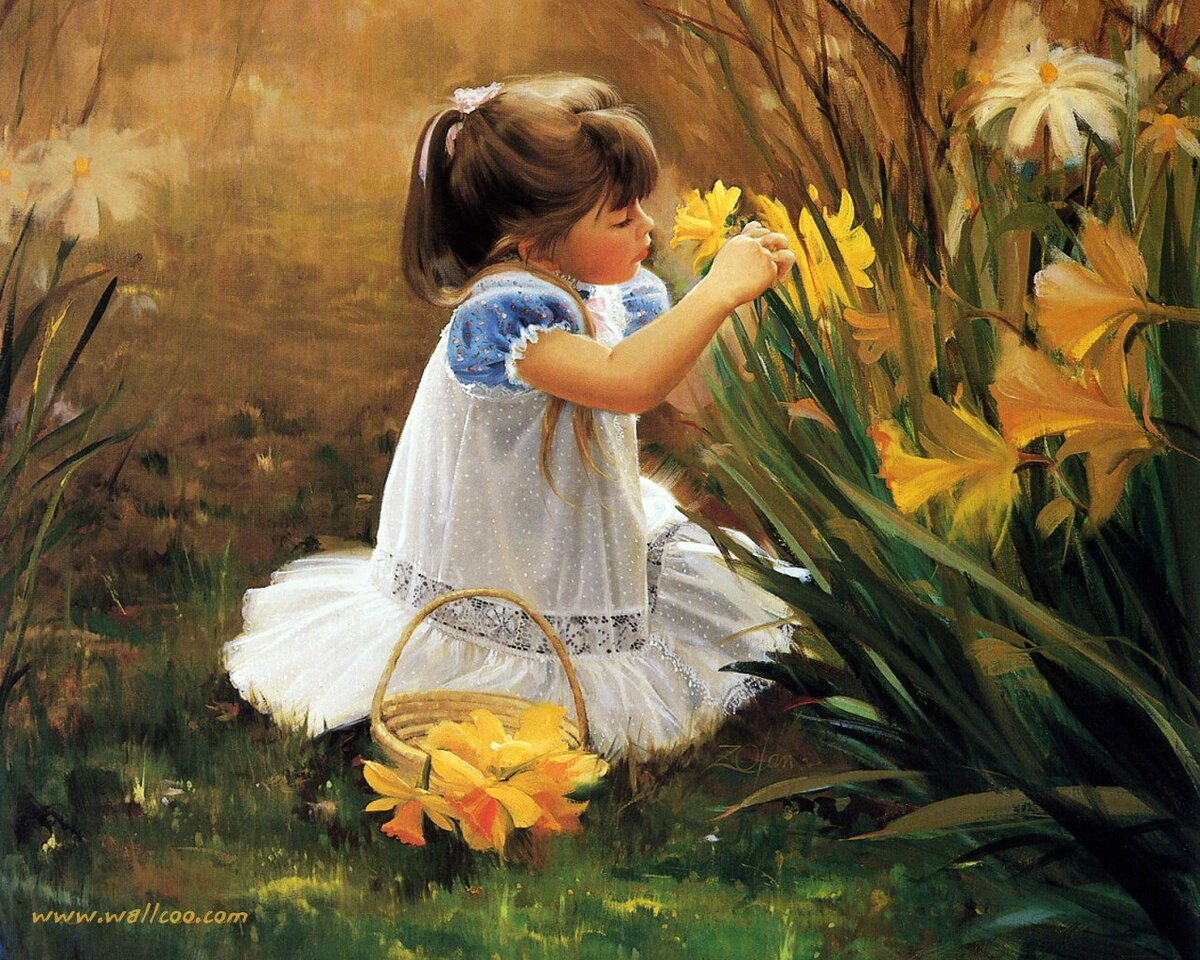 Картинки девочка с цветами