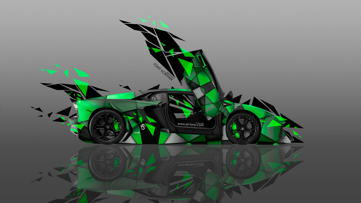 Lamborghini Aventador Open Doors Side Transformer Abstract Car