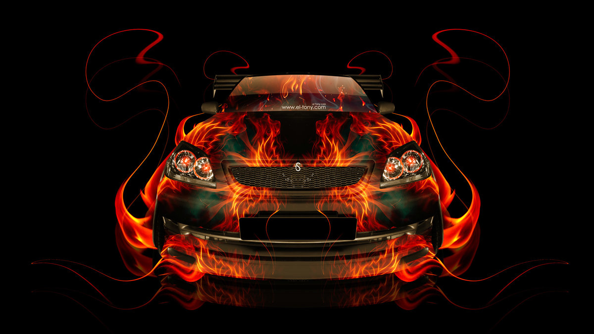 Nice Toyota Mark2 JZX110 FrontUp JDM Fire Abstract Car