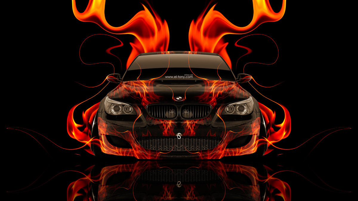 Perfect BMW M5 Front Super Fire Abstract Car 2014