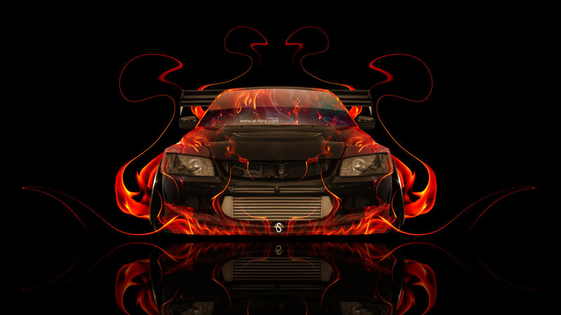 Mitsubishi Lancer Evolution JDM Front Fire Abstract Car