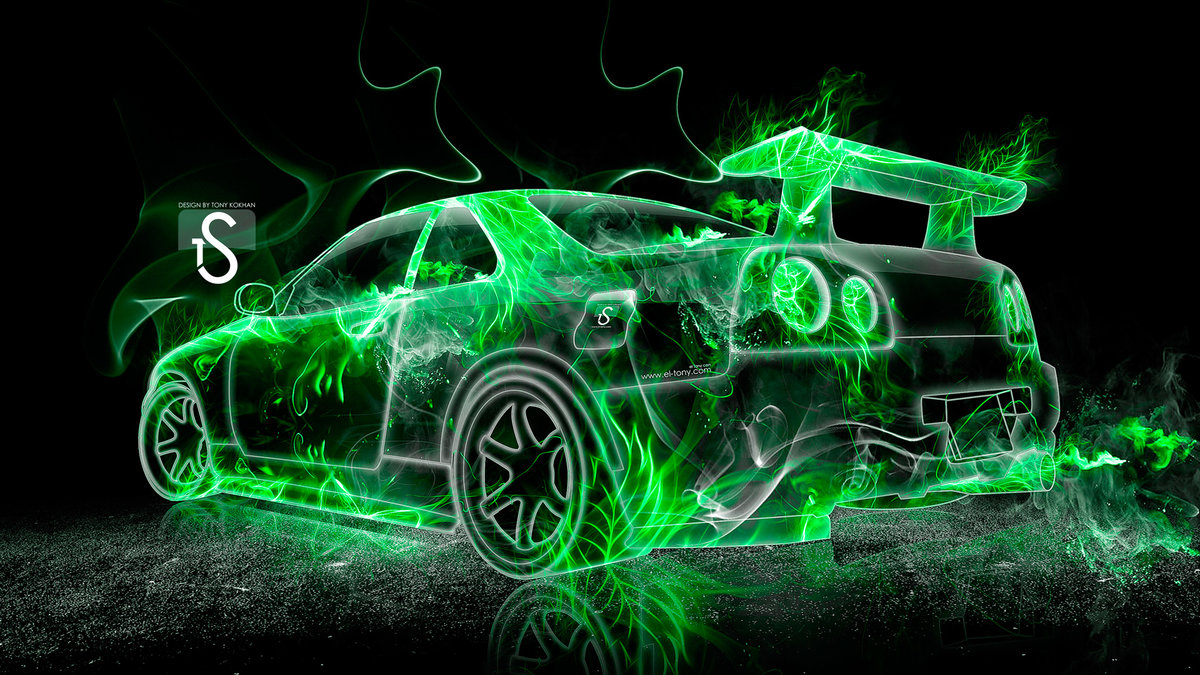 Nissan Skyline GTR R34 Green Fire Abstract Car