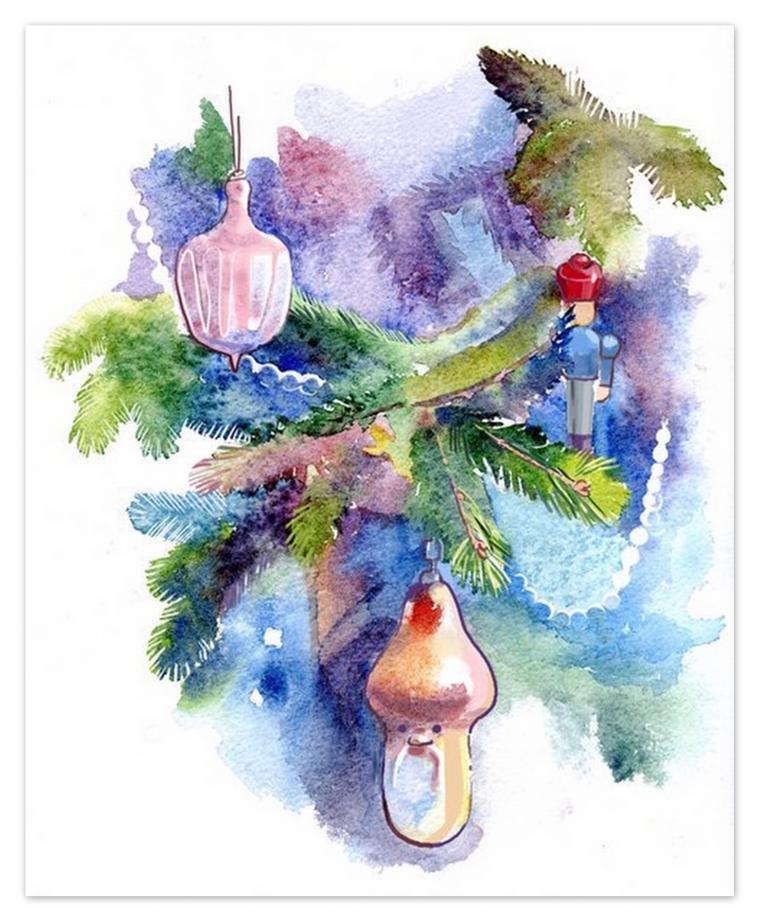 Днем рождения, новогодние открытки акварелью видео