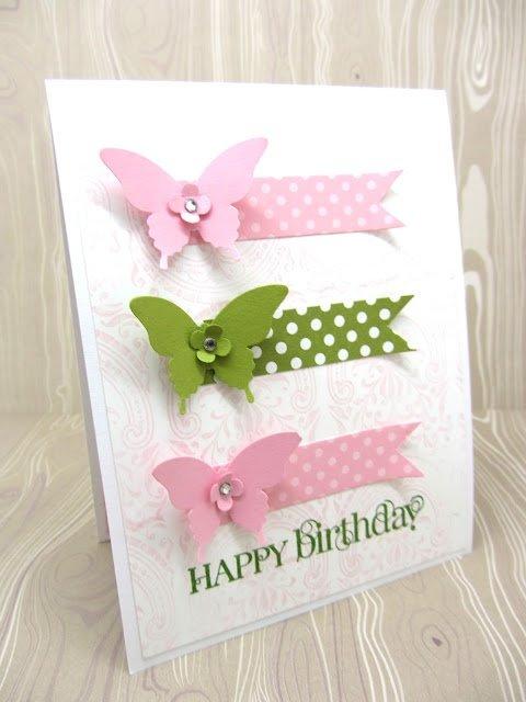 Открытки на день рождения своими руками с бабочками