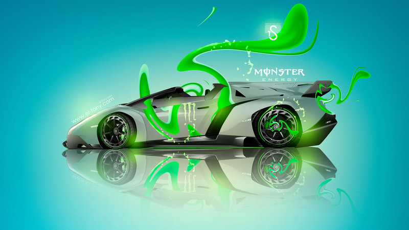 Monster Energy Lamborghini Veneno Roadster Green Plastic Car