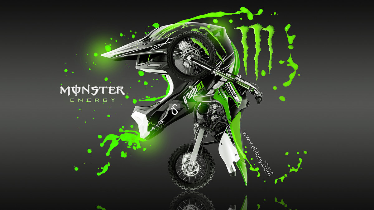 Perfect Monster Energy Fantasy Moto Kawasaki Green Acid 2013