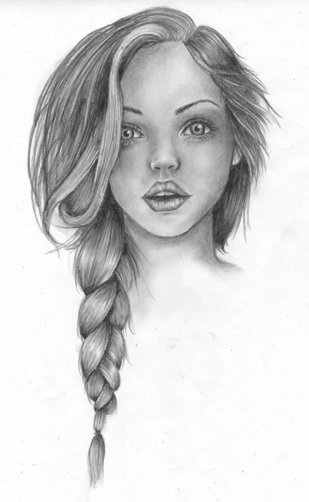 Рисунок карандашом девушки