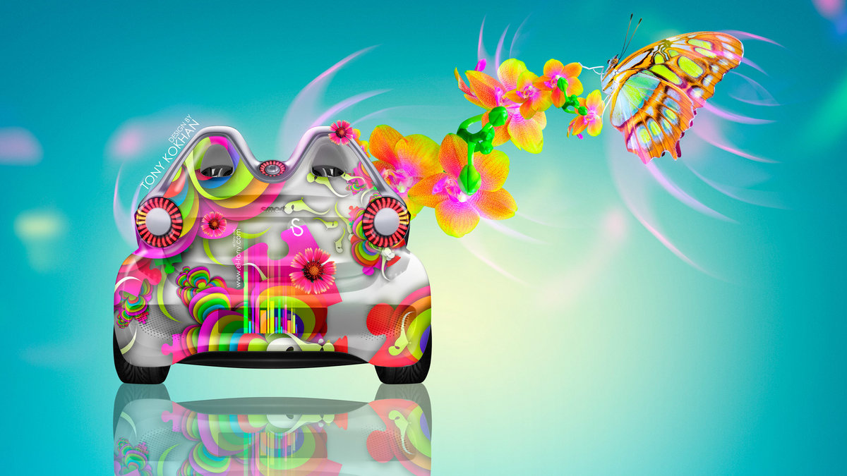 Beautiful Smart Electro Fantasy Butterfly Flowers Car 2014 Photoshop