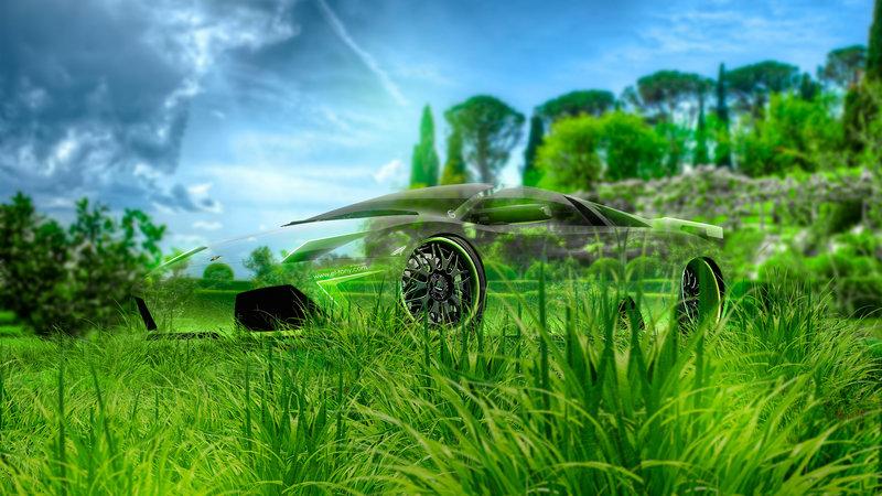 Lamborghini Murcielago Tuning 3D Crystal Nature Neon Art