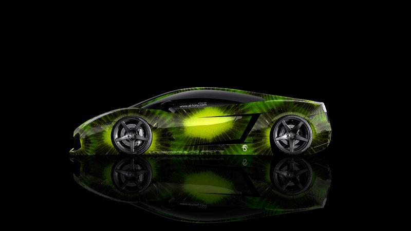 Lamborghini Gallardo Side Kiwi Aerography Car 2014 Green