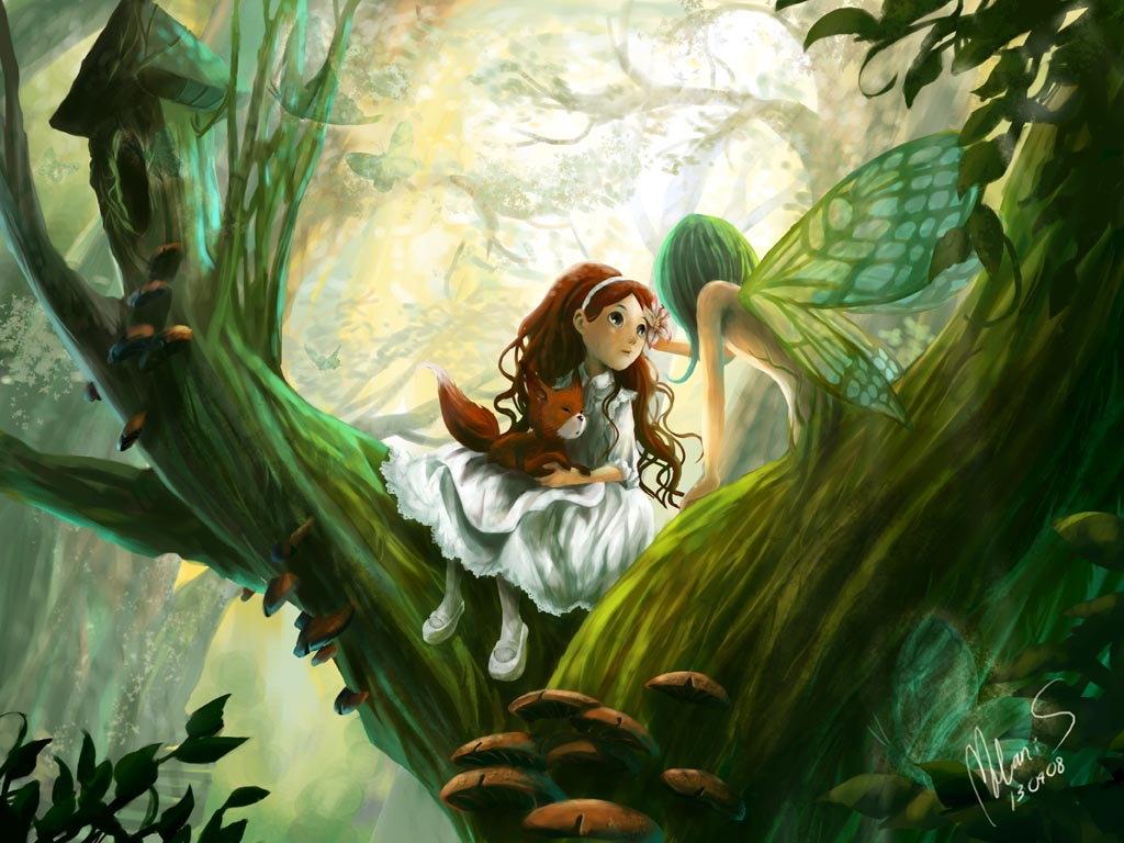 Рисунок эльфы в лесу, люблю сашу парня