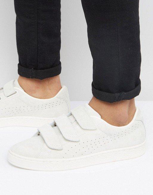 3f70b05b6823 Белые кроссовки на липучках Puma Basket