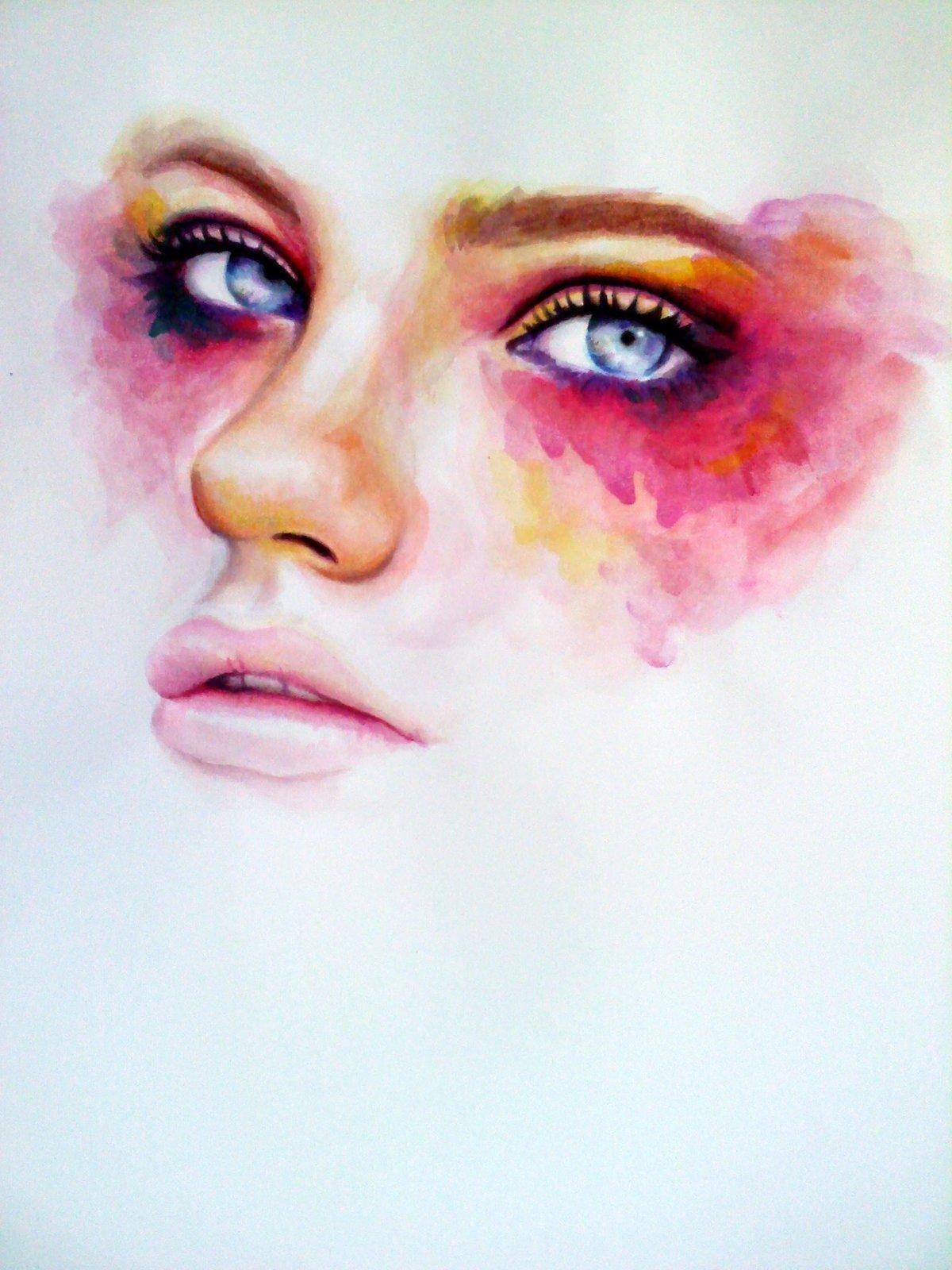 Картинка красивой девушки акварелью