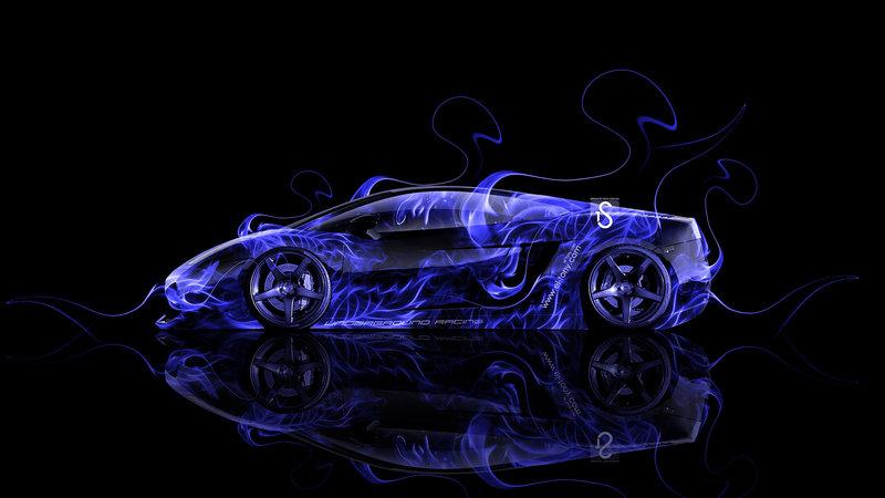 Lamborghini Gallardo Side Blue Fire Abstract Car 2014