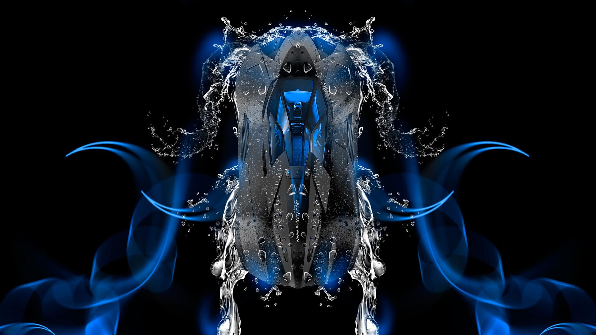 Lamborghini Egoista Up Super Water Car 2014 Blue Neon Hd Wallpapers