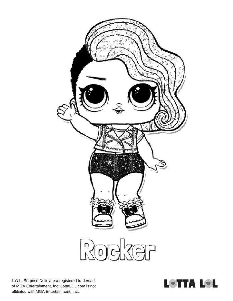 Rocker Glitter Lol Surprise Doll Coloring Page Lotta Picture Card