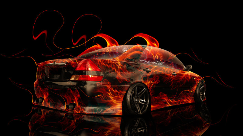 Toyota Mark2 JZX110 JDM Fire Abstract Car 2014