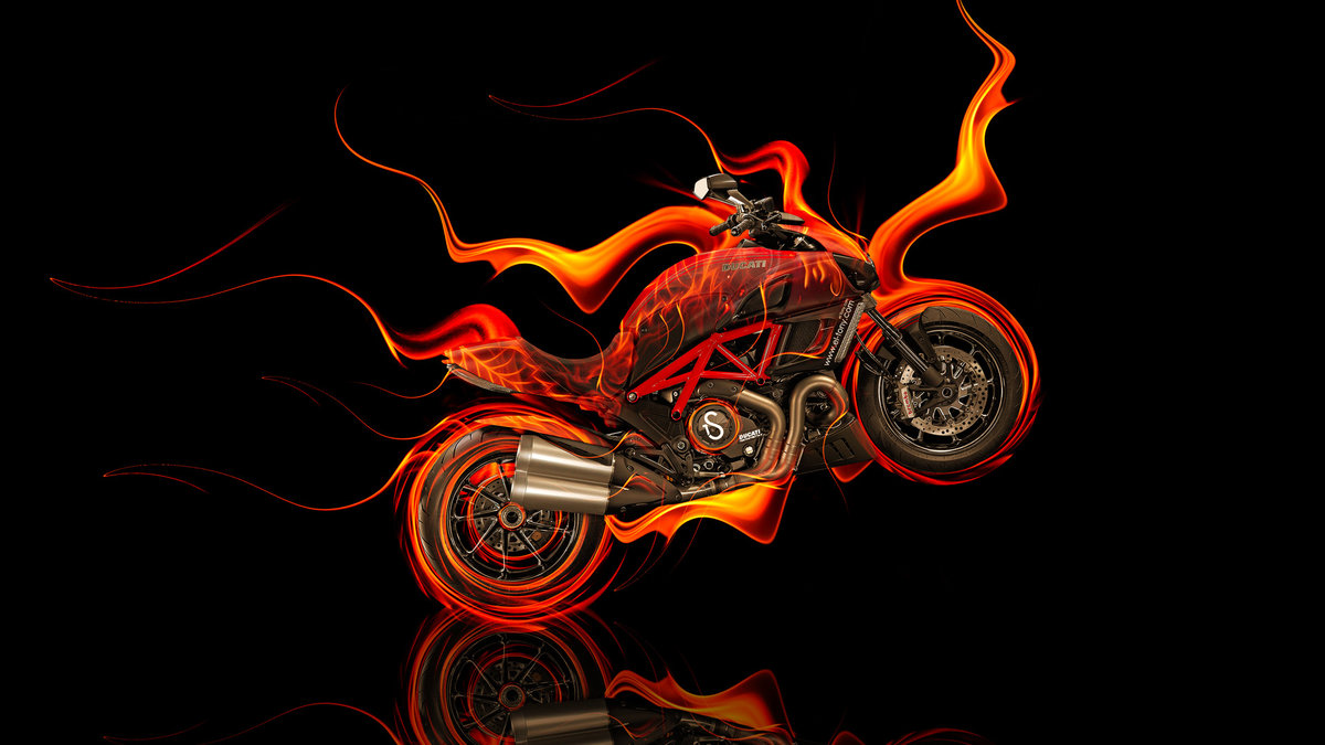 Moto Ducati Diavel Side Fire Abstract Bike 2014