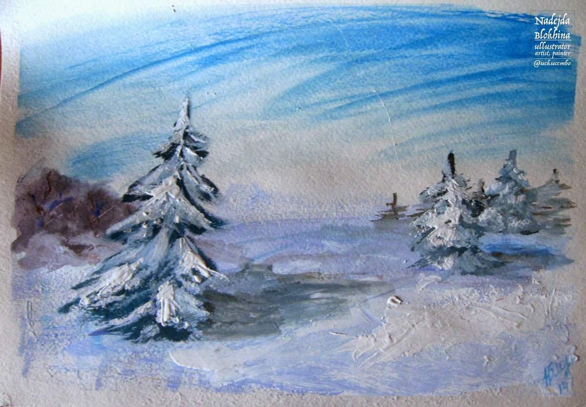 нас рисунок зимнего пейзажа гуашью мелкие детали